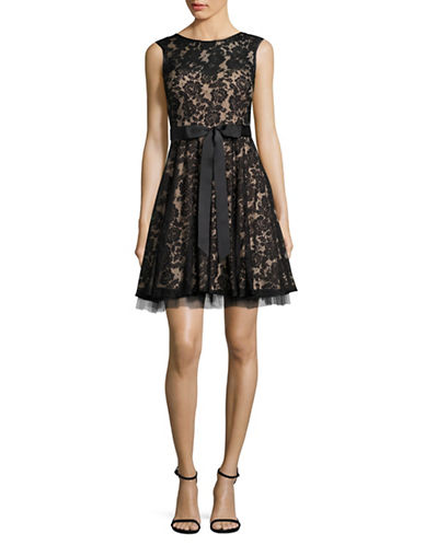 Betsy & Adam Illusion Lace Fit-and-Flare Dress-BLACK-4