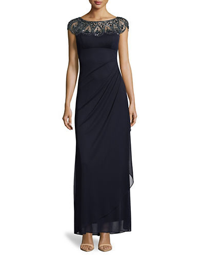 Xscape Cap Sleeve Beaded Ruched Gown-BLUE-6