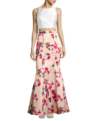 Xscape Two-Piece Blocked Floral Mermaid Gown-PINK-12