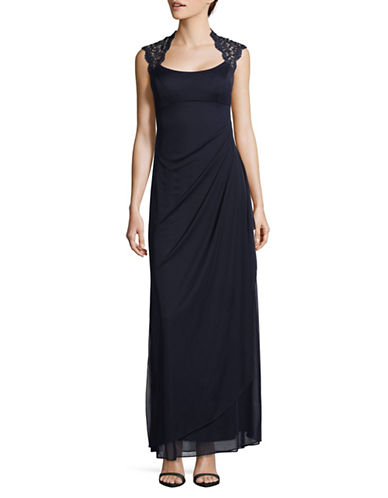 Xscape Metallic Lace Cap Sleeve Column Gown-BLUE-14