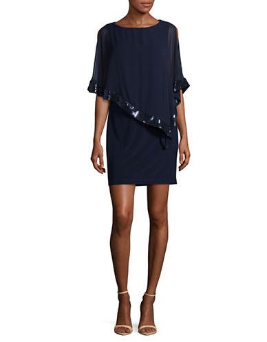 Xscape Chiffon Sequin Overlay Sheath Dress-NAVY-10