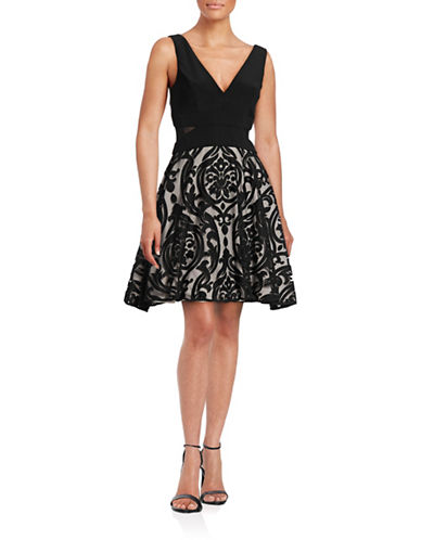 Xscape Flocked Mesh Fit-and-Flare Dress-BLACK-14