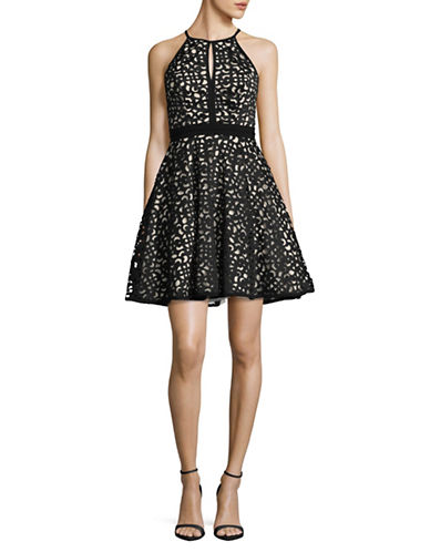 Xscape Halter Neck Laser-Cut Scuba Flare Dress-BLACK-6