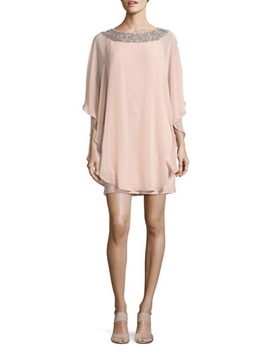 Xscape Chiffon Overlay Shift Dress-BLUSH-6