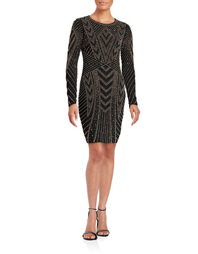 Xscape Beaded Bodycon Dress-BLACK-10
