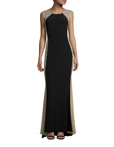 Xscape Caviar Illusion Side Panel Gown-BLACK-12