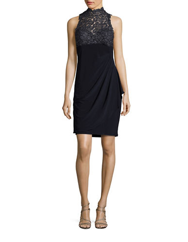 Xscape Sleeveless Lace-Accented Sheath Dress-BLUE-6