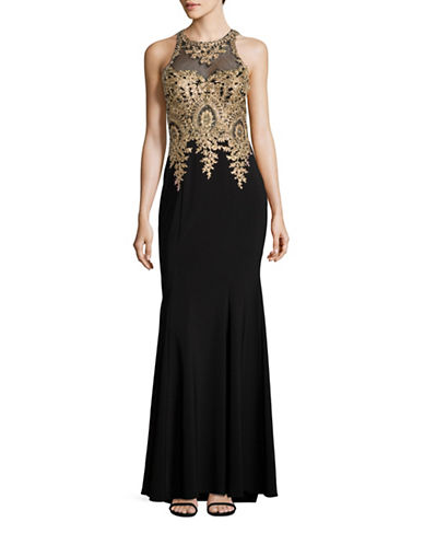Xscape Embellished Illusion Lace Sheath Gown-BLACK-14