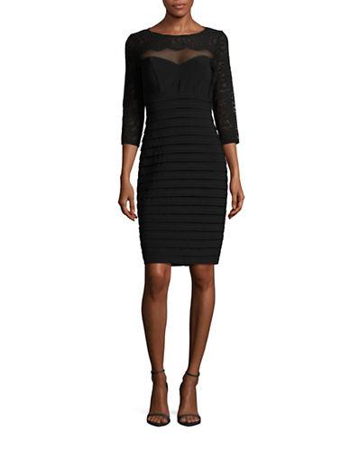 Xscape Three-Quarter Sleeve Lace-Top Sheath Dress-BLACK-2