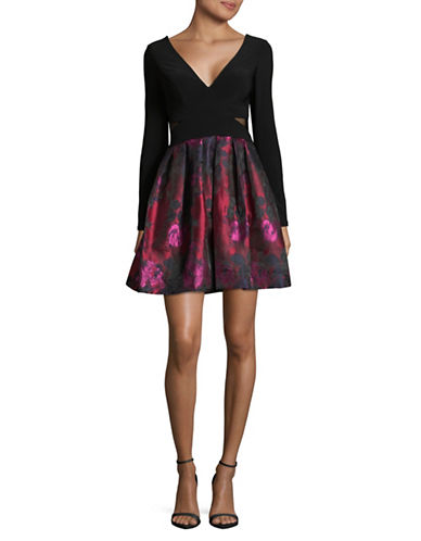 Xscape Mesh Paneled Mini Dress-BLACK/PINK-2