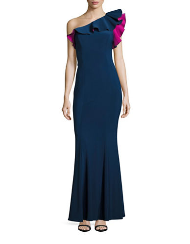 Xscape One-Shoulder Fitted Ruffle Prom Gown-BLUE-2