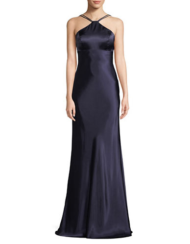 Xscape Long Charmous Halter Gown-NAVY-12