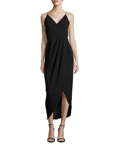 Xscape Spaghetti-Strap Side-Wrap Dress-BLACK-8