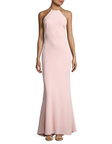 Xscape Halter Necklace Sheath Gown-PINK-10