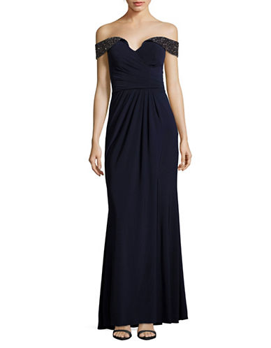 Xscape Beaded Off-The-Shoulder Gown-BLUE-12