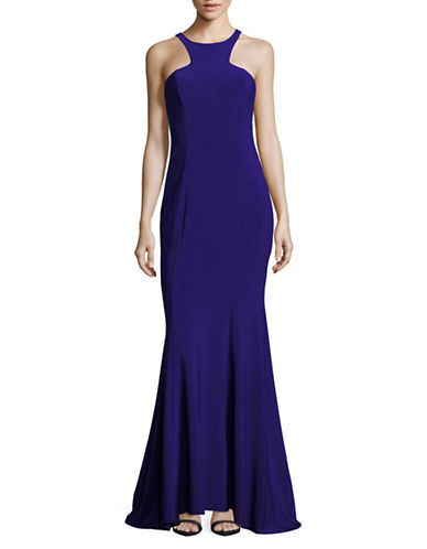 Xscape Seamed Halter Fit-and-Flare Gown-BLUE-4