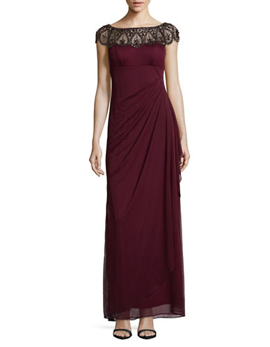 Xscape Cap Sleeve Beaded Ruched Gown-WINE-10