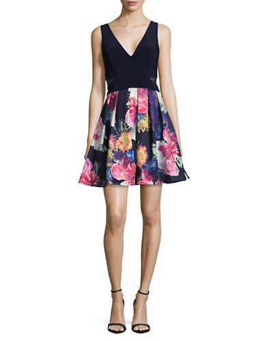 Xscape Sleeveless Illusion Floral Cocktail Dress-NAVY/PINK-14