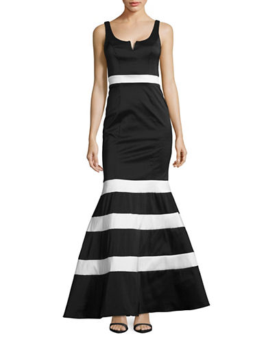 Xscape Taffeta Striped Mermaid Gown-MULTI-2