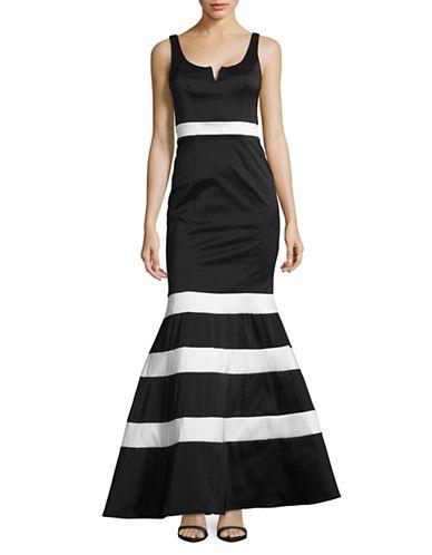 Xscape Taffeta Striped Mermaid Gown-MULTI-6
