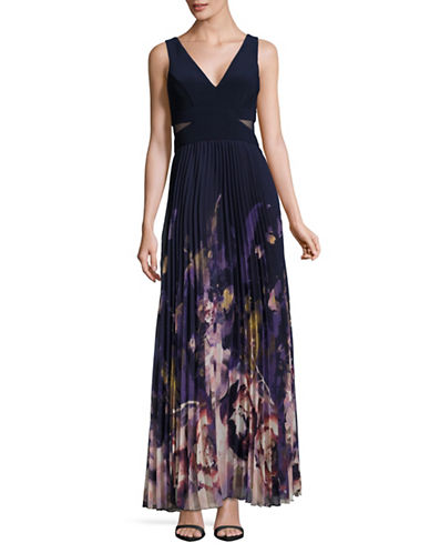 Xscape Illusion Gown with Printed Pleated Skirt-NAVY MULTI-14