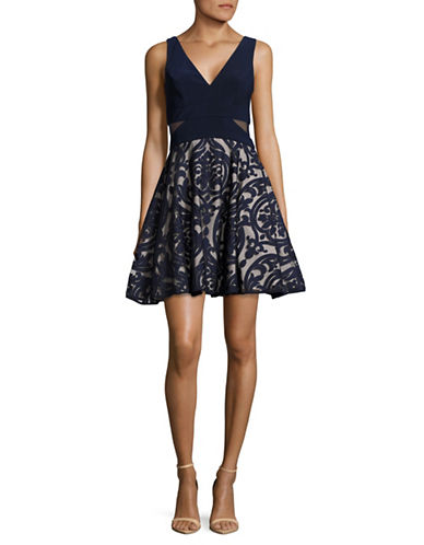 Xscape Flocked Mesh Fit-and-Flare Dress-NAVY-12