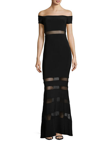 Xscape Short Sleeve Off-Shoulder Illusion Insert Dress-BLACK-12
