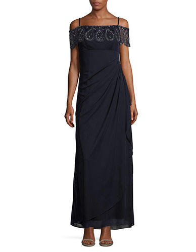 Xscape Beaded  Cold-Shoulder Gown-BLUE-16