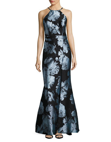 Xscape Floral Brocade Halter Fit-and-Flare Gown-MULTI-14
