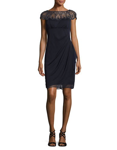 Xscape Beaded Ruched Illusion Sheath Dress-BLUE-2