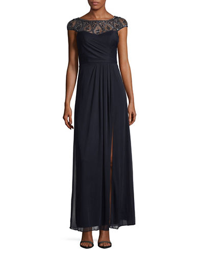 Xscape Beaded Top Chiffon Gown-BLUE-16