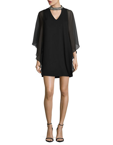 Xscape Chiffon Overlay Choker Dress-BLACK-12