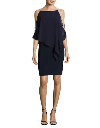 Xscape Chiffon Overlay Sheath Dress-NAVY-4