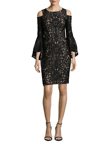 Xscape Cold Shoulder Bell Sleeve Cocktail Dress-BLACK/NUDE-10