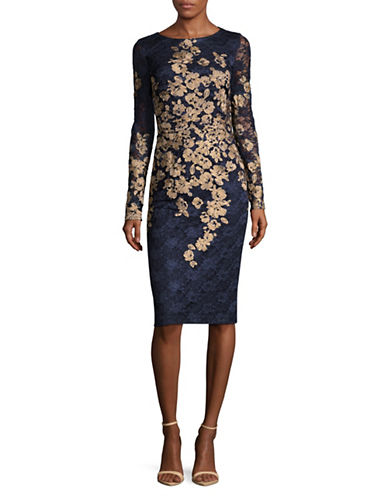 Xscape Embroidered Floral Lace Sheath Dress-NAVY/GOLD-12