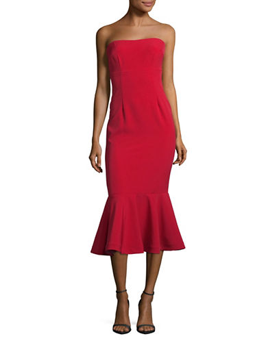 Xscape Strapless Fit-and-Flare Dress-RED-10