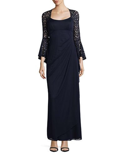 Xscape Lace Bell Sleeve Formal Gown-BLUE-16
