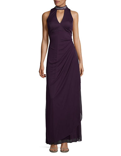 Xscape Beaded Choker Neck Sheath Gown-PURPLE-14