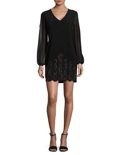 Xscape Beaded Split-Sleeve Shift Dress-BLACK-16