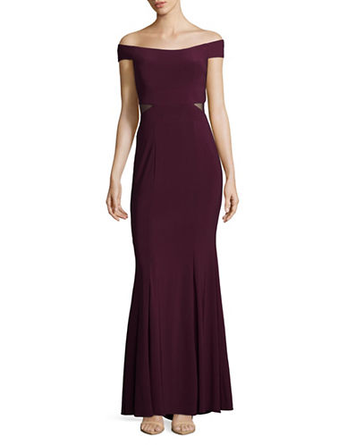Xscape Off-the-Shoulder Fit-and-Flare Gown-WINE-12