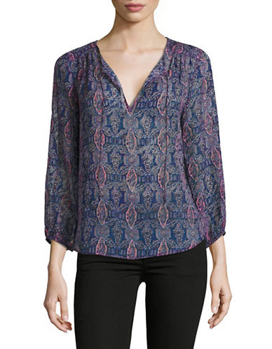 Joie Odelette Silk-Blend Blouse-BLUE-Large