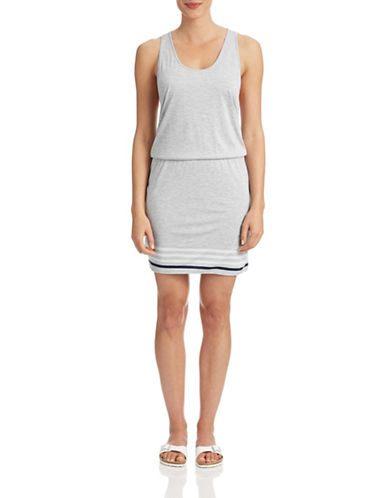 Joie Striped Scoop Tank Dress-GREY-Medium