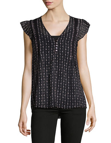Joie Macy E Pintucked Silk Blouse-BLACK-Small