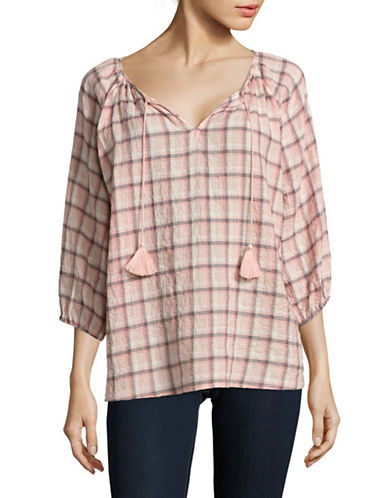 Soft Joie Legaspi Plaid Blouse-PINK-Large