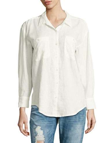 Soft Joie Lidelle Linen Roll-Sleeve Shirt-WHITE-Large
