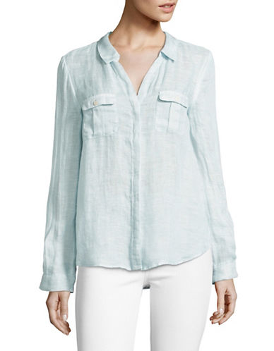 Joie Brooker Linen Blouse-BLUE-Large