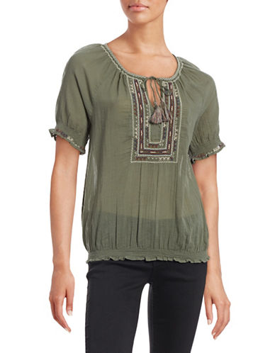 Joie Embroidered Peasant Top-GREEN-X-Small 88397988_GREEN_X-Small