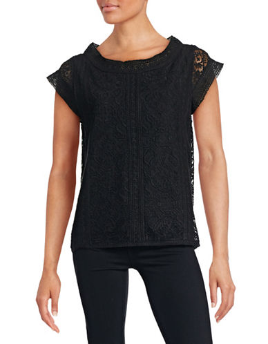 Joie Short Sleeve Lace Top-BLACK-X-Small 88397992_BLACK_X-Small