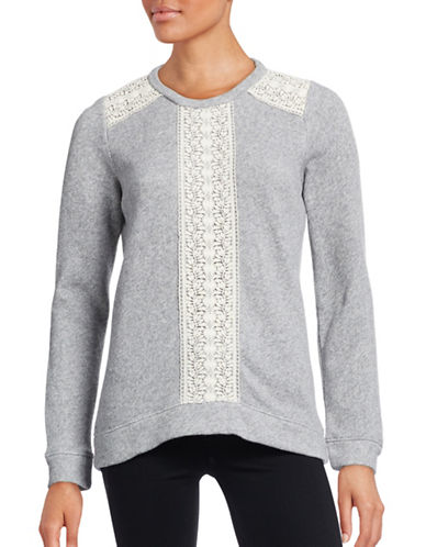 Soft Joie Lace Trim Crew Neck Sweater-GREY-Large 88603726_GREY_Large