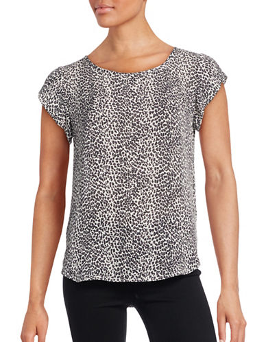 Joie Leopard Print Silk Top-BLACK-Large 88603667_BLACK_Large